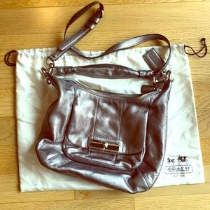 Silver leather Coach Crossbody